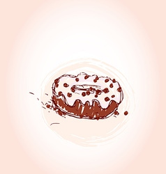 Chocolate donut with cream hand drawn sketch on vector