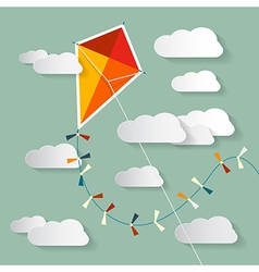 Paper kite on sky with clouds vector