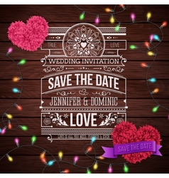Wedding invitation design on wooden background vector