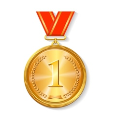 Gold medal with red ribbon isolated on white vector