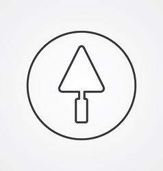Trowel outline symbol dark on white background vector