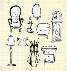 Doodle furniture on paper vector
