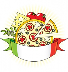 Pizza and italian flag vector