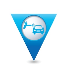 Painting of cars blue triangular map pointer vector