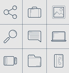Set of modern thin line icons share computer vector