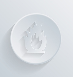 Circle icon with a shadow fire sign vector