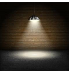 Spotlight on brick wall background vector