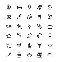 Food and drinks line icons 5 vector