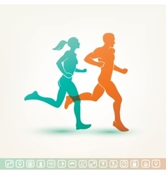 Running man and woman silhouette fitness tracker vector