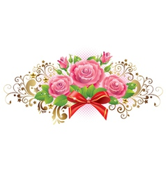 Horizontal vignette of roses and golden curls vector