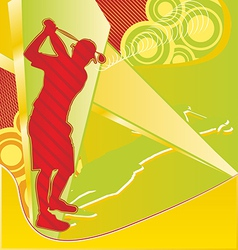 Golf player silhouette on the abstract background vector