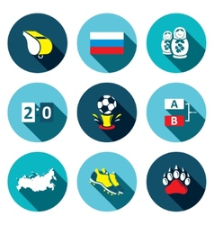 Soccer game flat icons set vector