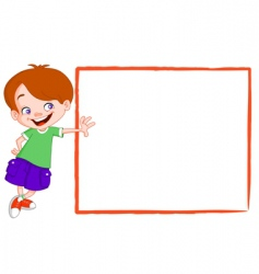 Kid with sign vector