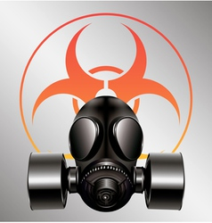Black gas mask with biohazard symbol vector