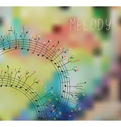 Musical background with note flowers vector