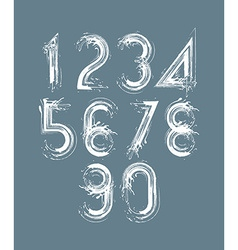 Calligraphic brush numbers on dark background vector