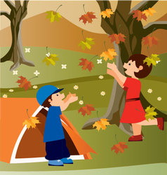 Children in camping vector