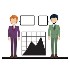 A graph with two businessmen vector