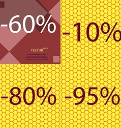 10 80 95 icon set of percent discount on abstract vector