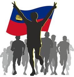 Athlete with the liechtenstein flag at the finish vector