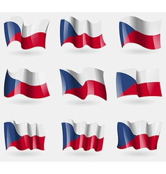 Set of czech republic flags in the air vector