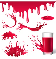 Red juice splashes vector