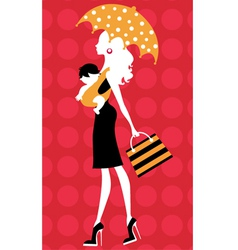 Chick silhouette mom with umbrella and kid vector