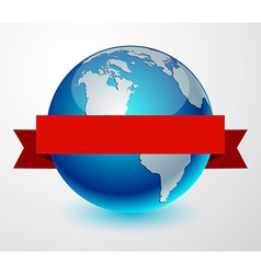 Earth globe with red ribbon vector