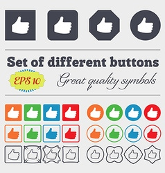 Like thumb up icon sign big set of colorful vector