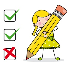 Girl filling a questionnaire vector