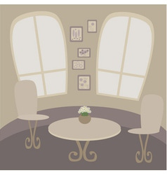 Cafe table with two chairs vector