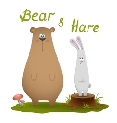 Bear and hare vector