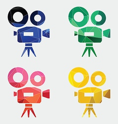 Video camera icon abstract triangle vector