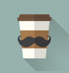 Coffee cup icon with mustache flat icon vector