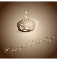 Burning candle on the cake vector