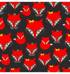 Seamless pattern with hipster fox vector