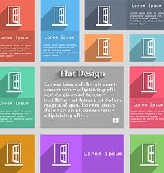 Door enter or exit icon sign set of multicolored vector