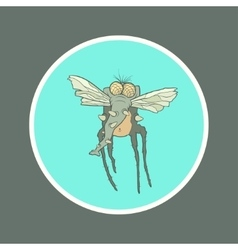 Monster fly with long legs wings and vector