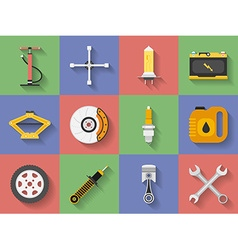 Icon set of car repair parts car service flat vector