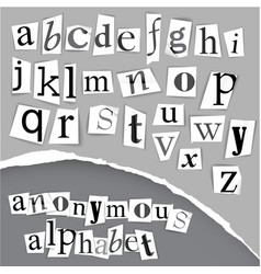 Anonymous alphabet made from newspapers vector