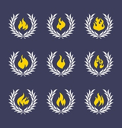 Wreath with fire vector