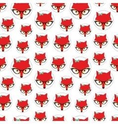 Seamless pattern with cute fox vector