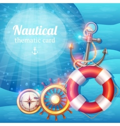 Marine symbols background vector