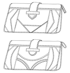 Leather wallets outline vector