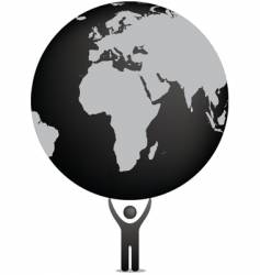 Globe and icon figure vector