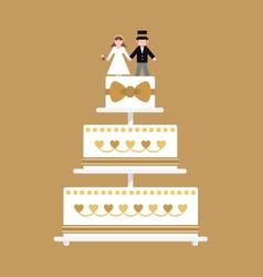 Wedding cake gold ribbon vector
