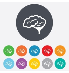 Brain sign icon intelligent smart mind vector