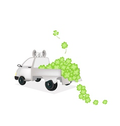 Many four leaf clovers on a pickup truck vector