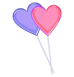 Two love lollipops hearts isolated on white vector