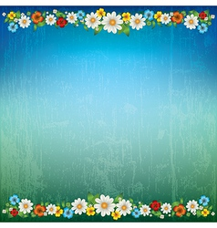 Abstract green blue floral background with spring vector
